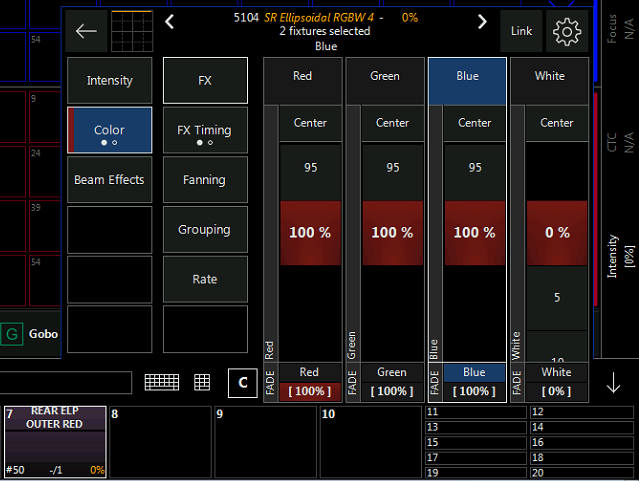 LED Intensity and RGBW fixure individual faders - Software