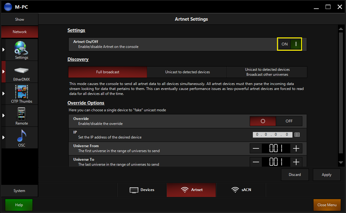 ArtNet/sACN setup - FAQ - Obsidian Control Systems
